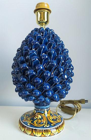 Lampada pigna blu/gialla cm 40 h - ceramica di Caltagirone