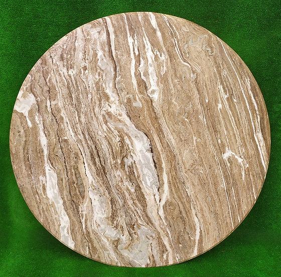 Top in marmo beige/bianco striato cm Ø 140 - spess. 15mm