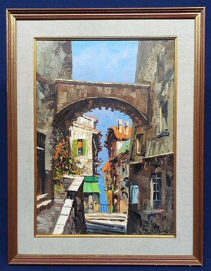 "Dipinto olio su tela ""Borgo rurale"" - firmato - 1973"