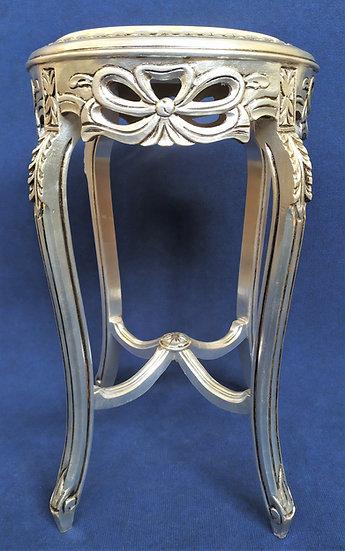 Tavolino in legno foglia argento con top in marmo - Italia XX sec.