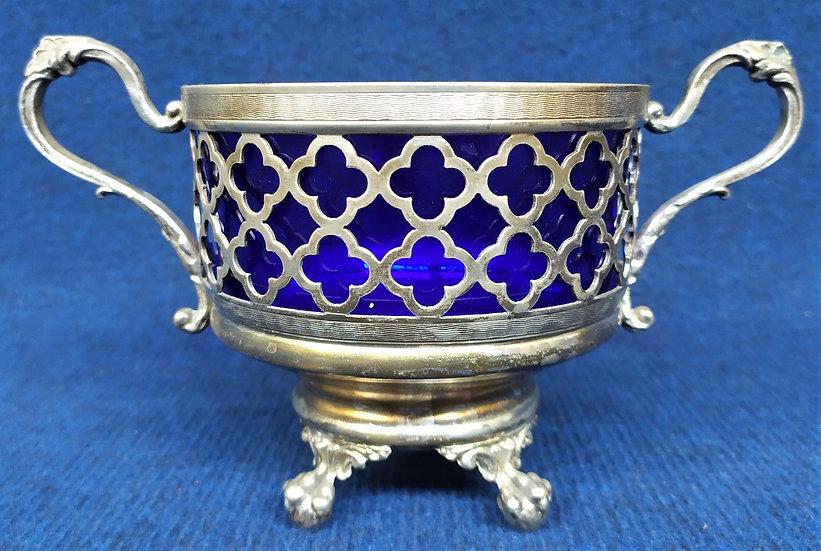 Coppa in metallo argentato e vetro blu cobalto - 1° metà XX sec.
