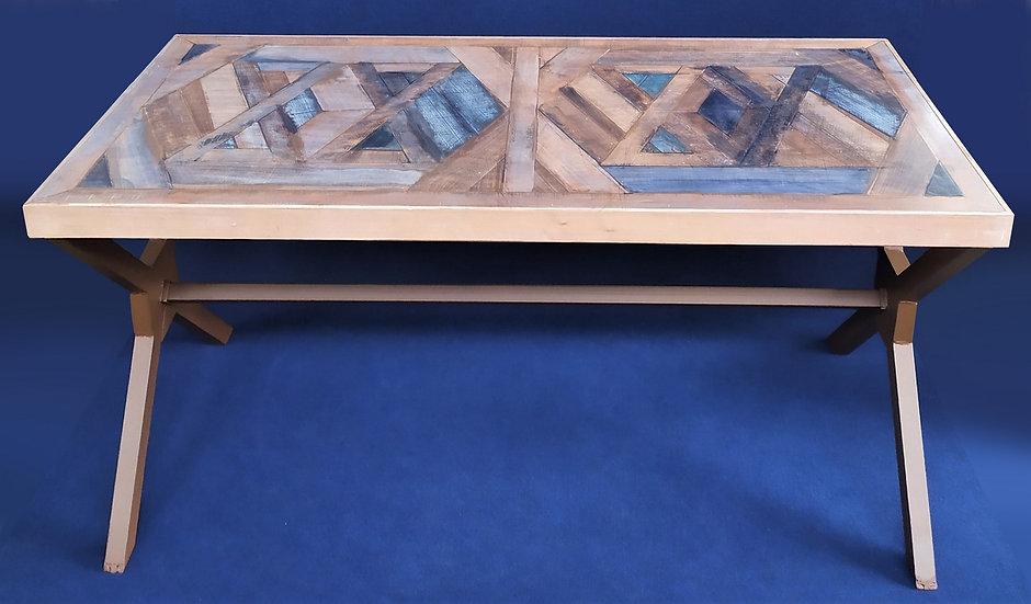 Grande scrivania industriale in legno spazzolato e metallo corten