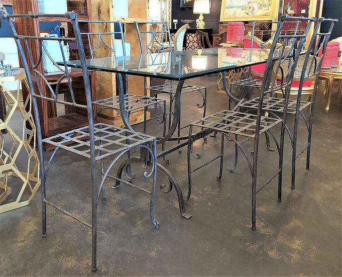Tavolo+ 6 sedie in ferro battuto e top in vetro molato