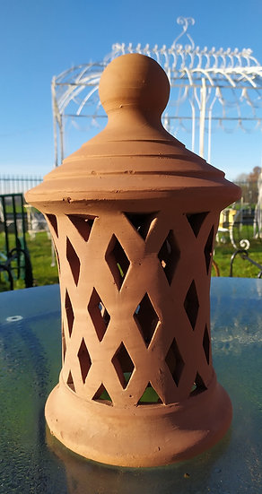 Lanterna porta candela terracotta H 40cm