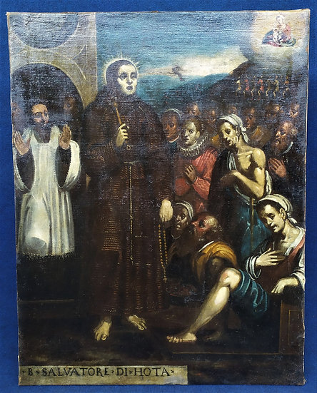 "Dipinto olio su tela ""San Salvatore di Horta"" - scuola spagnola XVII sec."