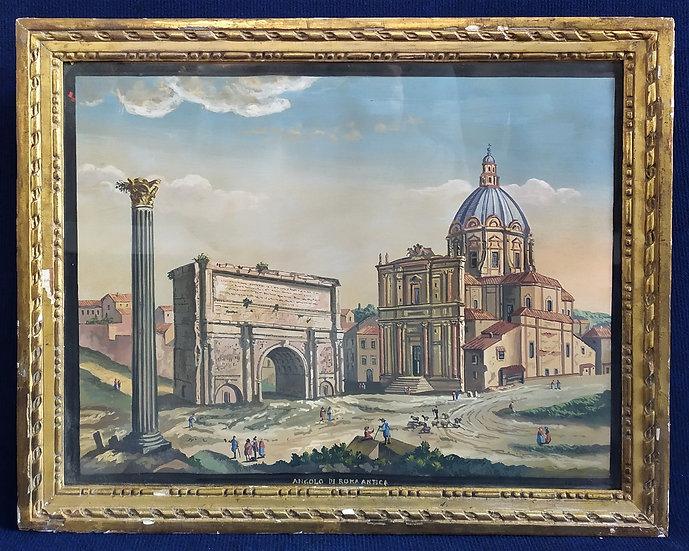 """Gouache """"Angolo di Roma Antica"""" - Italia XX sec."""
