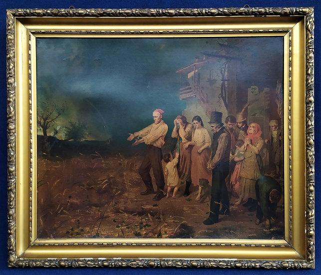"""Grande oleografia """"Il raccolto distrutto"""" - Italia XIX sec."""