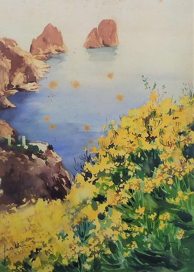 """""""Gino Frattini (1891-1965)"""" - acquerello su carta """"I Faraglioni"""""""