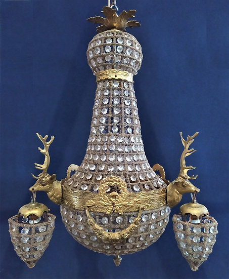 Lampadario a mongolfiera in vetro e bronzo dorato con Cervi - cm 65 h