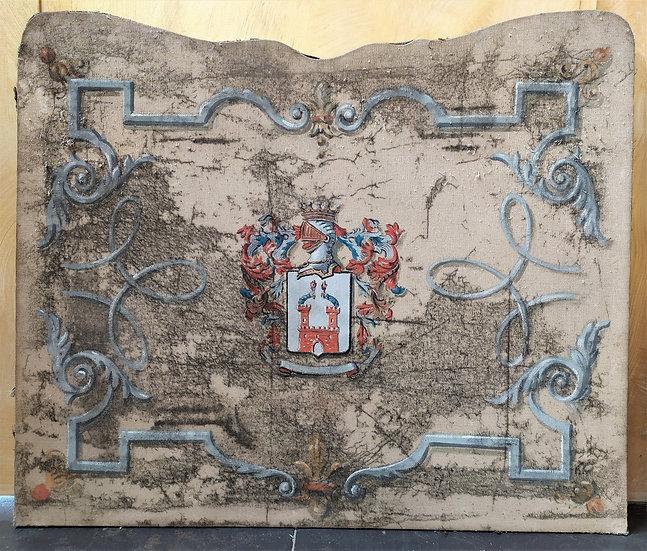 "Grande dipinto antico su tela ""Stemma Araldico"" - inizio XX sec."