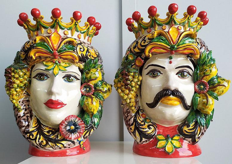 Coppia Teste di Moro con frutta cm 47 h - ceramica di Caltagirone