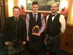 Piping A competitors with President Chris Dodson (l-r): Andrew Sandison, Ross Davison.