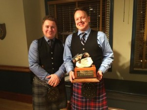 Our Canadian Content Competition winner, Ryan Ross with the Can Con trophy and Branch President Chris Dodson.
