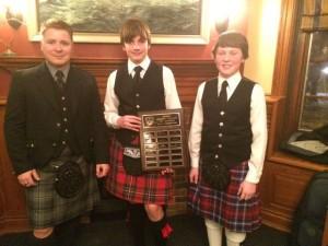 Drumming B competitors with President Chris Dodson (l-r):  Kiernan Alexander, Matthew Houlzet.
