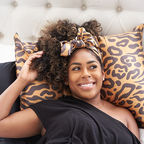 "SET ""Luxe Leopard"" 100% Mulberry Silk Scarf & Pillowcase Set"