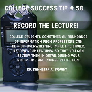 College Success Tip # 58 - Record The Lecture!
