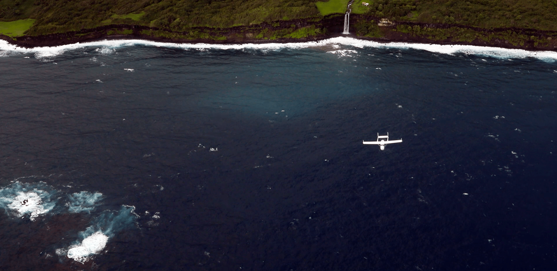 Ampaire's Electric EEL flying over Maui's crystal waters