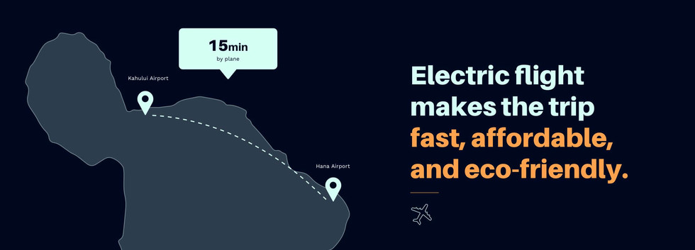 """Map of Maui showing flight route (15 minutes) between Kahului Airport and Hana Airport. Text reads """"Electric flight makes the trip fast, affordable, and eco-friendly"""""""