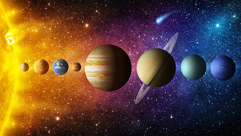 Solar system planet, comet, sun and star