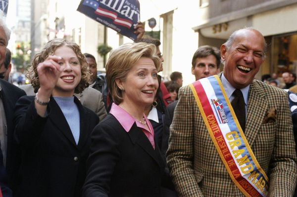 Senate hopeful Hillary Rodham Clinton is flanked by her daug