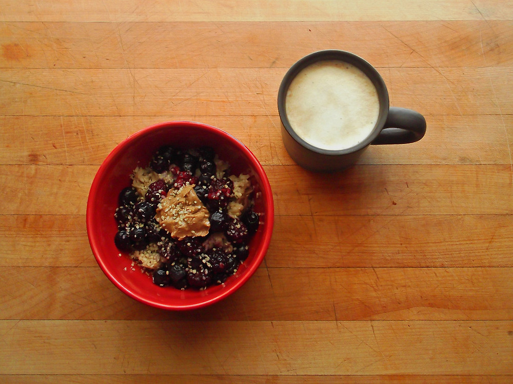 Oatmeal with real blueberries