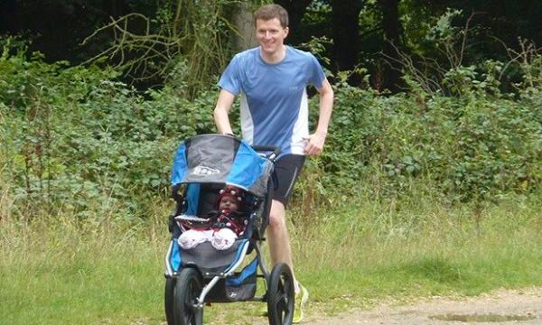 Running in the family … Matt Kurton, his daughter Amy and the jogger buggy Bob.