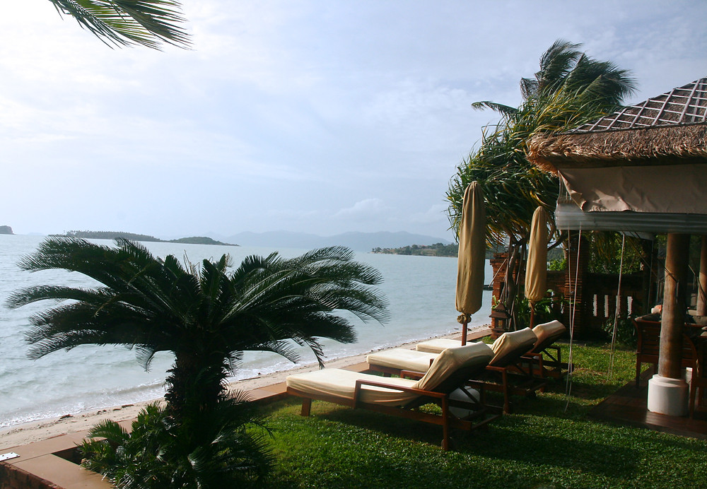Overlooking private beach at Baan Mika