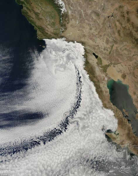 This image of clouds off the California coast was captured Apr. 14 by NASA's Terra satellite.