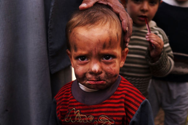 November 12, 2013 in Beirut, Lebanon. A little Syrian refugee migrates to Beirut to escape violence and bloodshed.