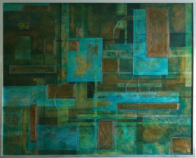 Blue and green abstract painting, with real copper and bronze