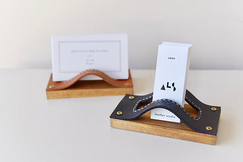 Leather + Wood Business Card Holder