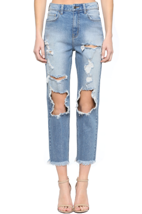 """""""Hot Girl Summer"""" Distressed High Waisted Mom Jean"""