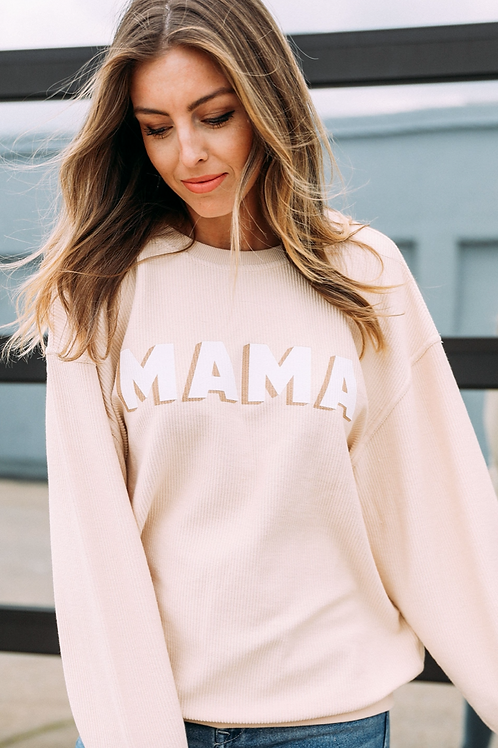 """Mama""  Corded Pullover"
