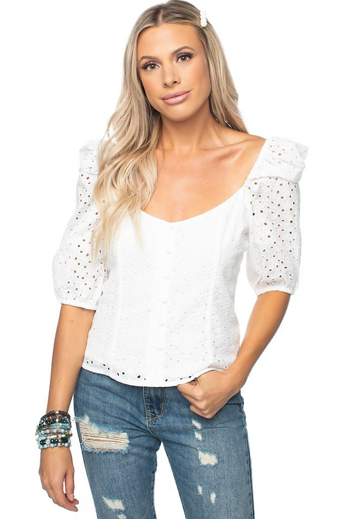 "Buddylove ""Demi Eyelet"" Sweetheart Top"