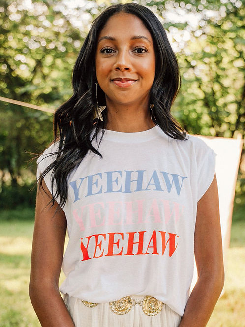 """Yeehaw"" Rolled Sleeve Graphic Tee"