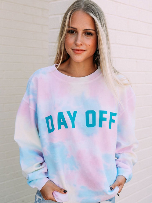 """""""Day Off"""" Tie Dye Corded Pullover"""