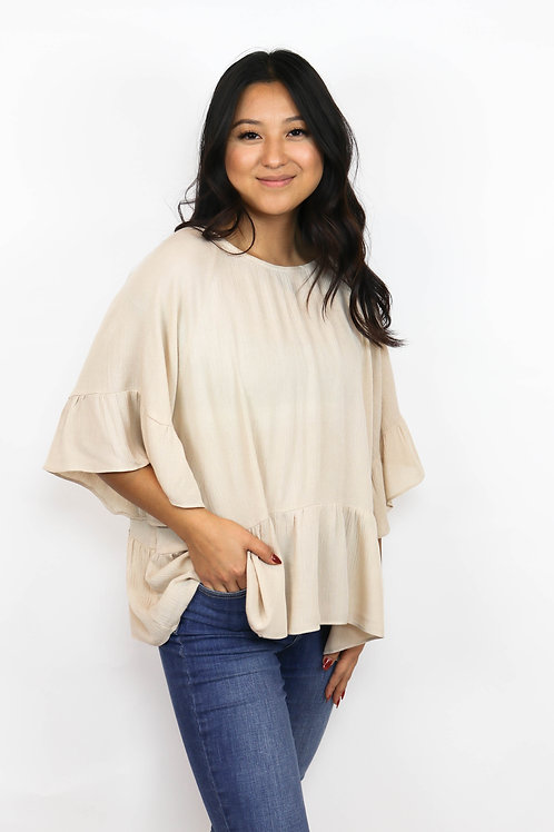 'Hey Girl' Relaxed Peplum Top - Beige