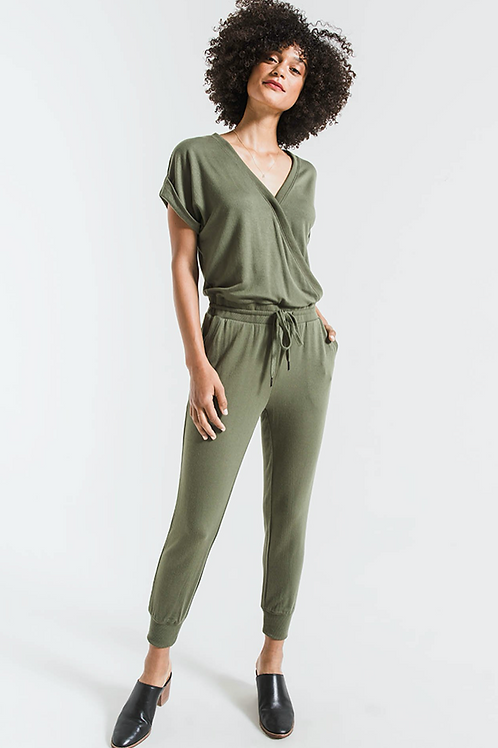 """Z Supply """"Wrap Front"""" Jumpsuit- Green"""