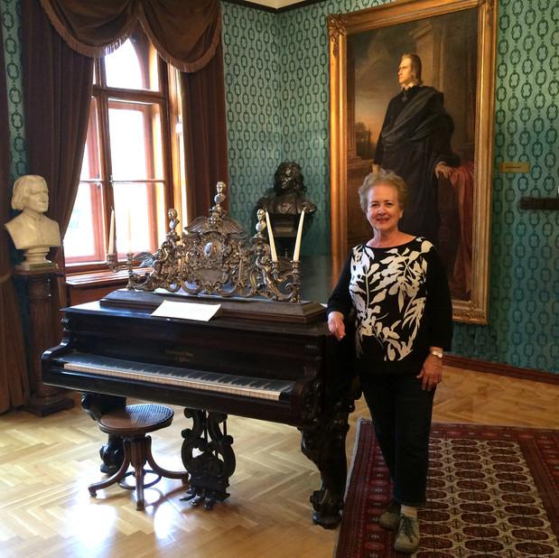 Bonnie beside Liszt's Piano, Budapest
