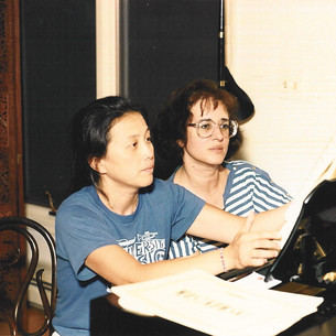 Juanita Tsu and Bonnie preparing for duet recital