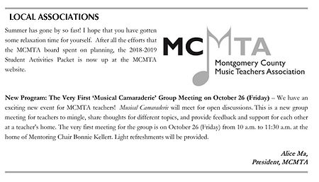 Mentoring Group Announcements in MCMTA Newsletters 1