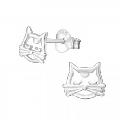 """Sweet Cat Face"" Ear Studs"