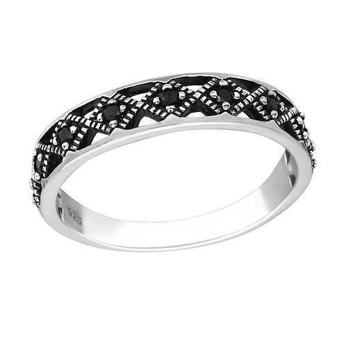 """Infinite Black Sparkle"" Ring"