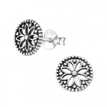 """""""Patina Mandala Flower"""" Ear Studs"""