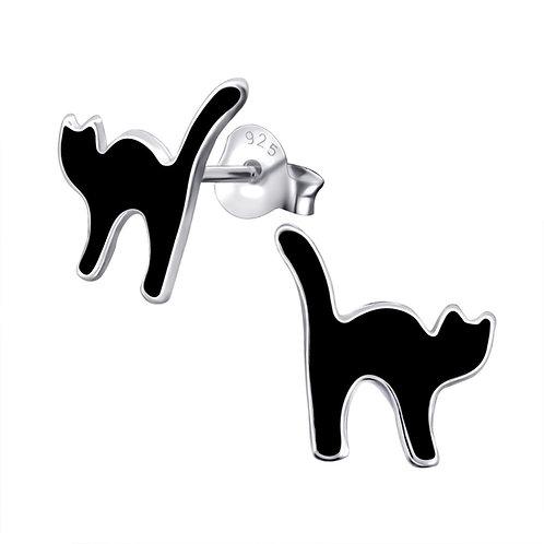 """Black Cat"" Ear Studs"