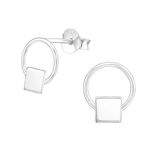"""""""Square in a ring"""" Ear Studs"""