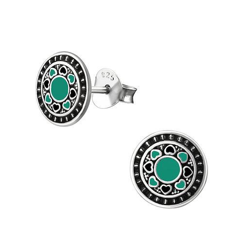 """""""Green Mandala"""" Ear Studs"""