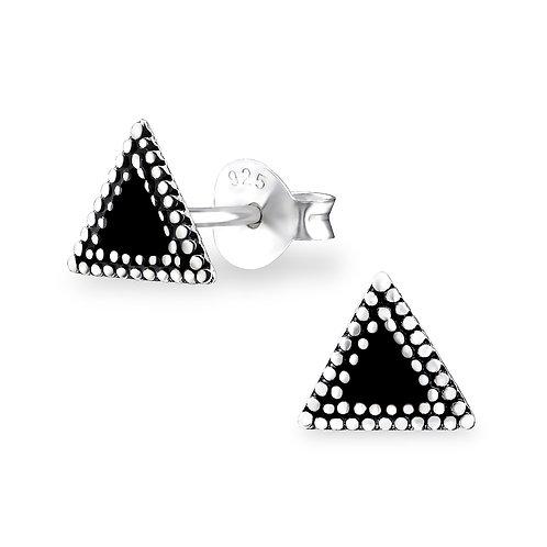 """Black Triangle"" Ear Studs"