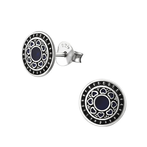 """Blue Mandala"" Ear Studs"