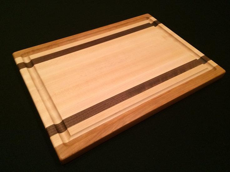 Maple with Black Walnut & Cherry Stripes Edge Grain Cutting Board